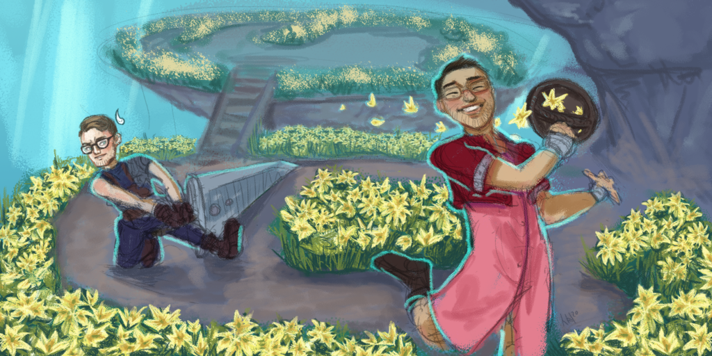Artist rendering of the First Encounter hosts Chris and Haney.