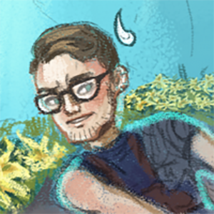 Artistic rendering of the First Encounter host Chris.